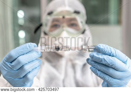 Vaccine For Covid-19 Coronavirus Vaccination, Medical Immunization With Doctor Or Scientist In Ppe P