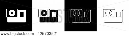 Set Action Extreme Camera Icon Isolated On Black And White Background. Video Camera Equipment For Fi