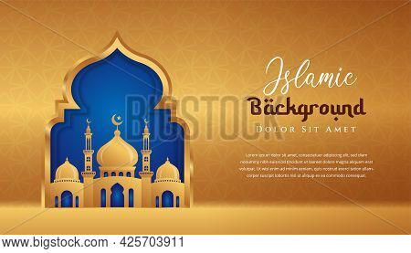Islamic Background Design With 3d Mosque Illustration In Gold Color. Can Be Used For Greetings Card,
