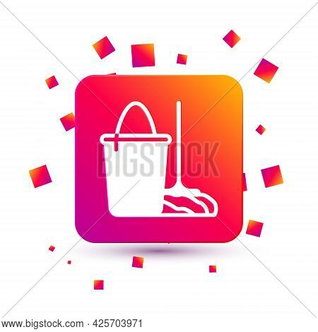 White Mop And Bucket Icon Isolated On White Background. Cleaning Service Concept. Square Color Butto