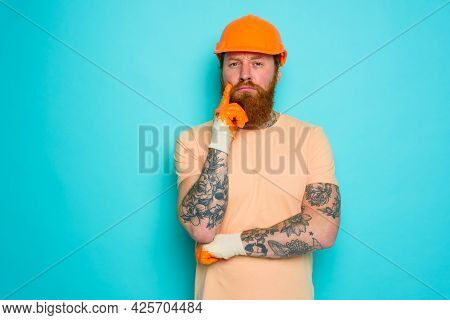 Incompetent Worker Is Unsure And Worried About His Work