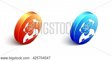Isometric Grandfather Icon Isolated On White Background. Orange And Blue Circle Button. Vector