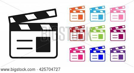 Black Movie Clapper Icon Isolated On White Background. Film Clapper Board. Clapperboard Sign. Cinema