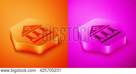 Isometric Courthouse Building Icon Isolated On Orange And Pink Background. Building Bank Or Museum.