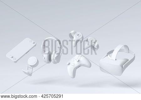 Flying Gamer Monochrome Gears Like Mouse, Keyboard, Joystick, Headset, Vr Headset On White Table Bac