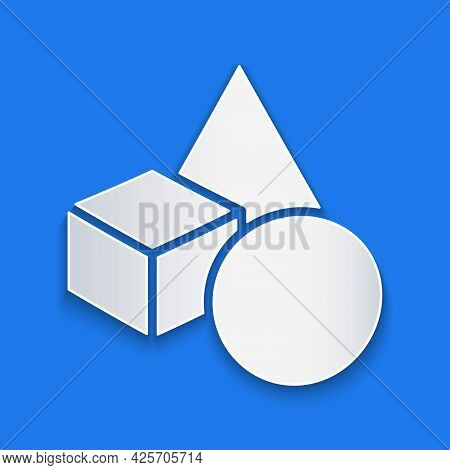 Paper Cut Basic Geometric Shapes Icon Isolated On Blue Background. Paper Art Style. Vector