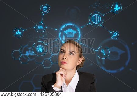 Thoughtful Young Businesswoman Pondering About Educational Prospective In Future Career, Master Degr