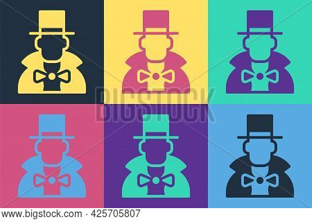 Pop Art Magician Icon Isolated On Color Background. Vector