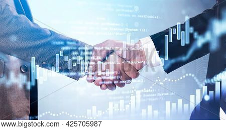 Double Exposure Of Businessman Handshake On Stock Market Graph Background. Concept Financial Trading