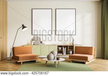 Two Mockups In Row On The Light Yellow Wall Above The Sideboard. Orange And Green Waiting Room Inter