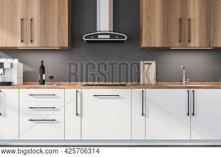Wooden Half White Kitchen With Kitchenware At Grey Wall. Wooden Worktop With White Lower Cabinets, L