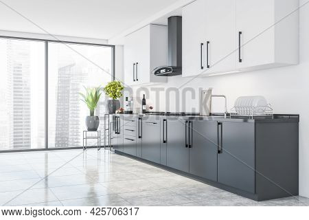 Corner Of Panoramic City Interior With Kitchen. Cabinet With Grey Lower Cabinets, White In The Upper