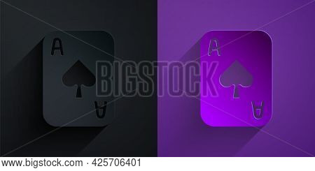 Paper Cut Playing Cards Icon Isolated On Black On Purple Background. Casino Gambling. Paper Art Styl