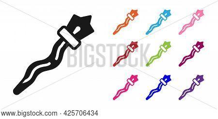 Black Magic Staff Icon Isolated On White Background. Magic Wand, Scepter, Stick, Rod. Set Icons Colo