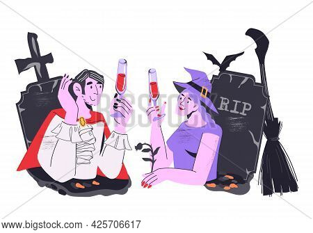 Halloween Witch And Dracula Personage Celebrating Holiday In Tombs. Cartoon Flat Vector Illustration
