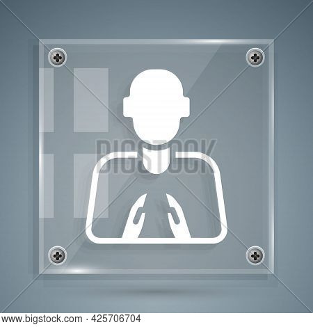 White Hands In Praying Position Icon Isolated On Grey Background. Prayer To God With Faith And Hope.