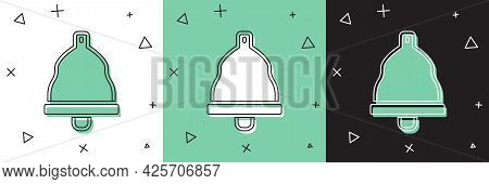 Set Church Bell Icon Isolated On White And Green, Black Background. Alarm Symbol, Service Bell, Hand
