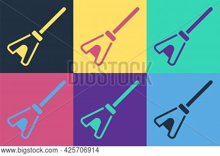 Pop Art Mop Icon Isolated On Color Background. Cleaning Service Concept. Vector