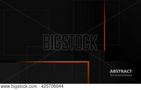 Dark Grey Elegance Business Corporate Abstract Vector Background With Orange And Gray Lines. Minimal