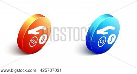 Isometric Donation And Charity Icon Isolated On White Background. Donate Money And Charity Concept.