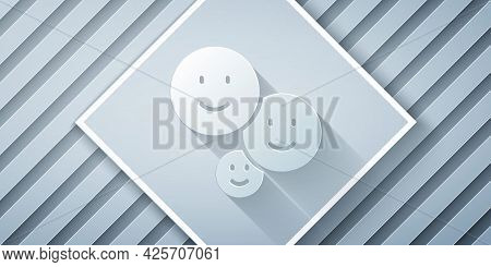 Paper Cut Happy Friendship Day Icon Isolated On Grey Background. Everlasting Friendship Concept. Pap