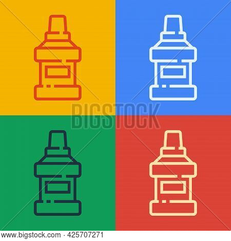 Pop Art Line Mouthwash Plastic Bottle Icon Isolated On Color Background. Liquid For Rinsing Mouth. O
