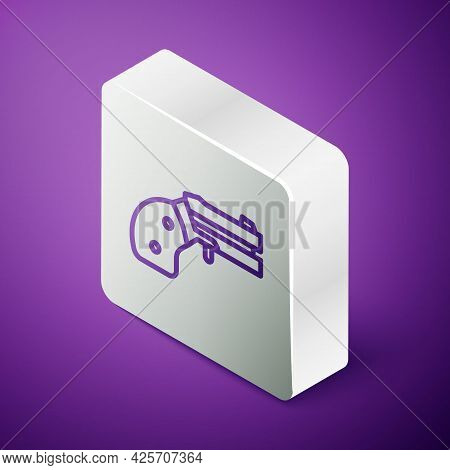 Isometric Line Small Gun Revolver Icon Isolated On Purple Background. Pocket Pistol For Self-defense