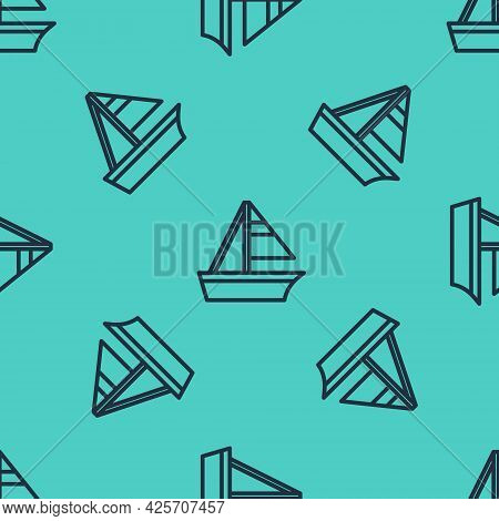 Black Line Yacht Sailboat Or Sailing Ship Icon Isolated Seamless Pattern On Green Background. Sail B