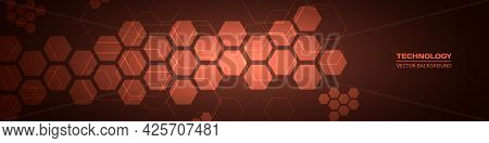 Dark Red Technology Abstract Wide Background With Hexagonal Elements. Abstract Hexagon Medical Red H