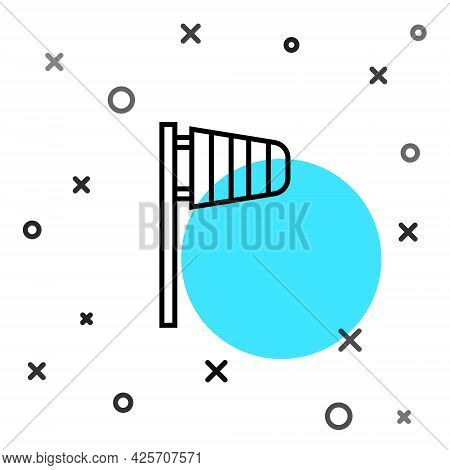 Black Line Cone Meteorology Windsock Wind Vane Icon Isolated On White Background. Windsock Indicate
