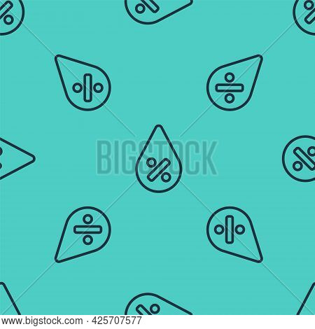 Black Line Water Drop Percentage Icon Isolated Seamless Pattern On Green Background. Humidity Analys