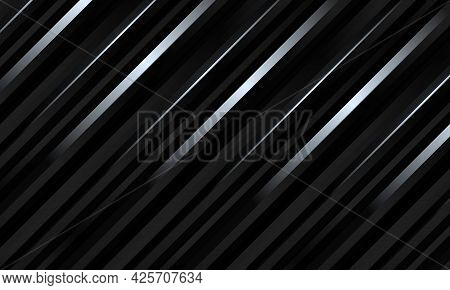 Black Abstract Luxury Striped 3d Vector Background With Gradient Metallic Three Dimensional Shapes.