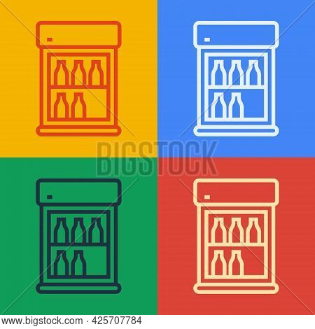 Pop Art Line Commercial Refrigerator To Store Drinks Icon Isolated On Color Background. Perishables