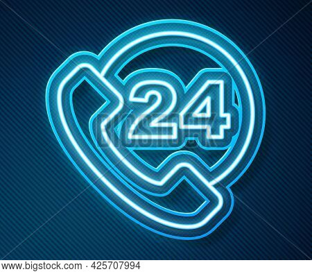 Glowing Neon Line Telephone 24 Hours Support Icon Isolated On Blue Background. All-day Customer Supp