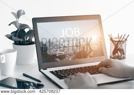 The Idea Of A Dream Job Where You Need, Job Finding App On A Laptop.