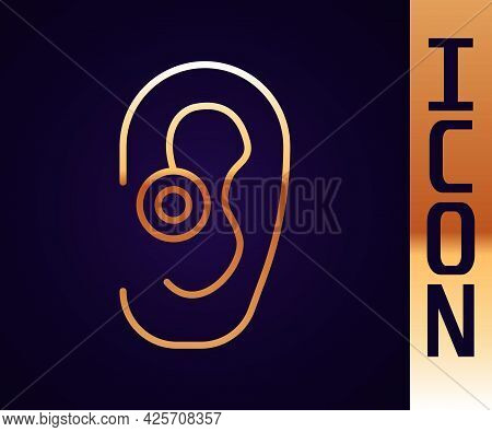 Gold Line Hearing Aid Icon Isolated On Black Background. Hearing And Ear. Vector