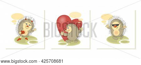 Funny Hedgehogs. Set. Sticker, Badge, Label With Quote. Lovely Happy Funny Character For Telephone