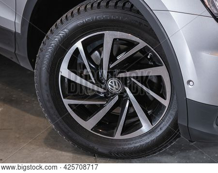Novosibirsk, Russia - June 29, 2021: Volkswagen Tiguan,  Close Up Of The Car Front Detail With  Ligh