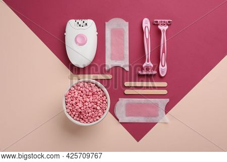 Set Of Epilation Products On Color Background, Flat Lay