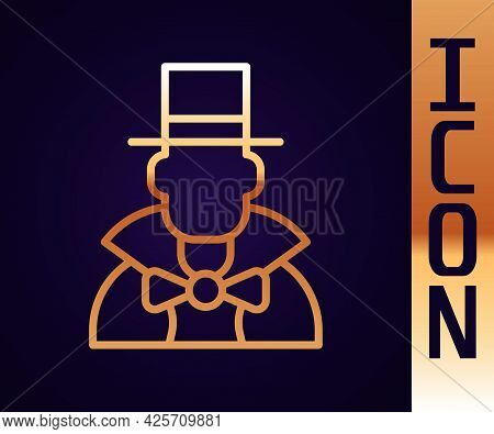 Gold Line Magician Icon Isolated On Black Background. Vector