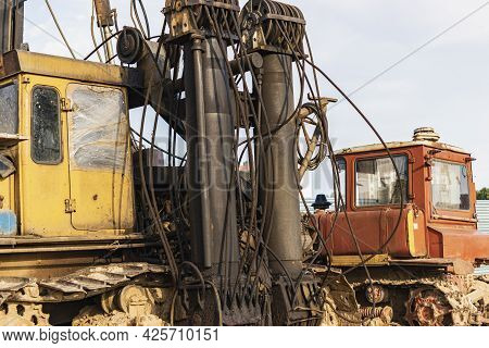 Hydraulic Crawler Pile Driving Rig Machine Standing Near The Construction Site And Ready For Work. H