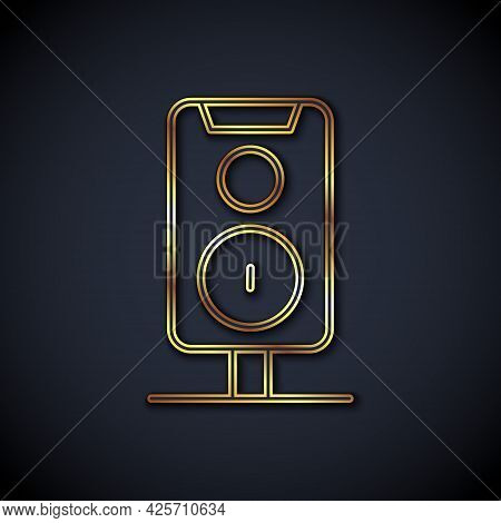 Gold Line Stereo Speaker Icon Isolated On Black Background. Sound System Speakers. Music Icon. Music