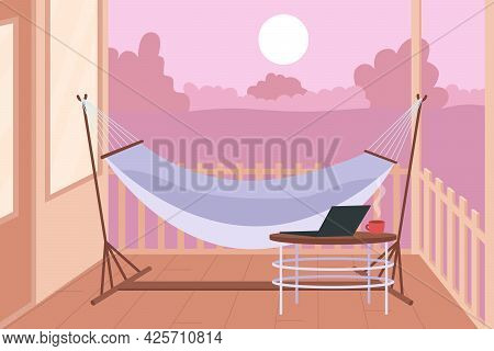 Hammock In Backyard For Rest Flat Color Vector Illustration. Freelancer Relaxing Working Place. Recr
