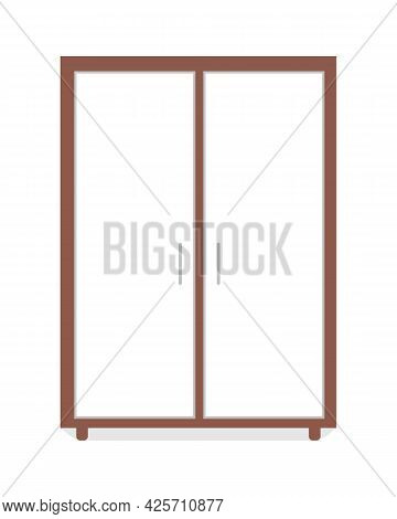Wardrobe Semi Flat Color Vector Object. Modern Home Furniture. Realistic Item On White. Closet For B