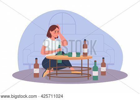 Alcoholism Problem 2d Vector Isolated Illustration. Unhealthy Lifestyle. Person With Substance Abuse