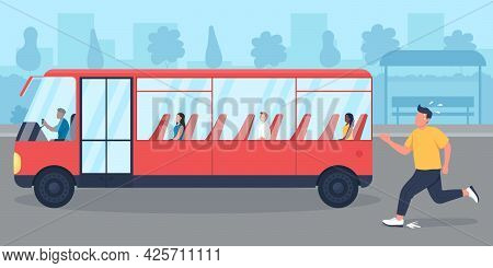 Being Late For Bus Flat Color Vector Illustration. Guy Missed Transport. Person Chasing Commuter. Ba