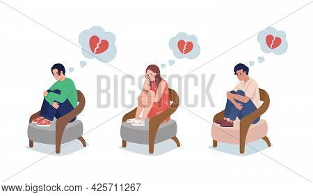 Teen Upset Over Love Semi Flat Color Vector Character Set. Sitting Figure. Full Body People On White
