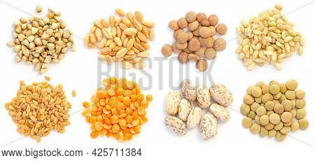 Group Of Dry Organic Cereal And Grain Seed Pile On White Background Consisted Of Buckwheat, Barley,
