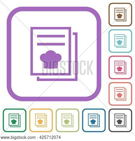 Cookbook With Chef Hat Simple Icons In Color Rounded Square Frames On White Background