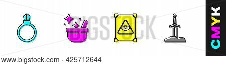Set Magic Stone Ring With Gem, Witch Cauldron, Ancient Magic Book And Sword The Icon. Vector